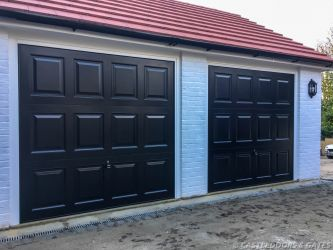 black panel twin garage doors