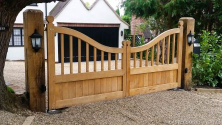 elegant wooden driveway gates